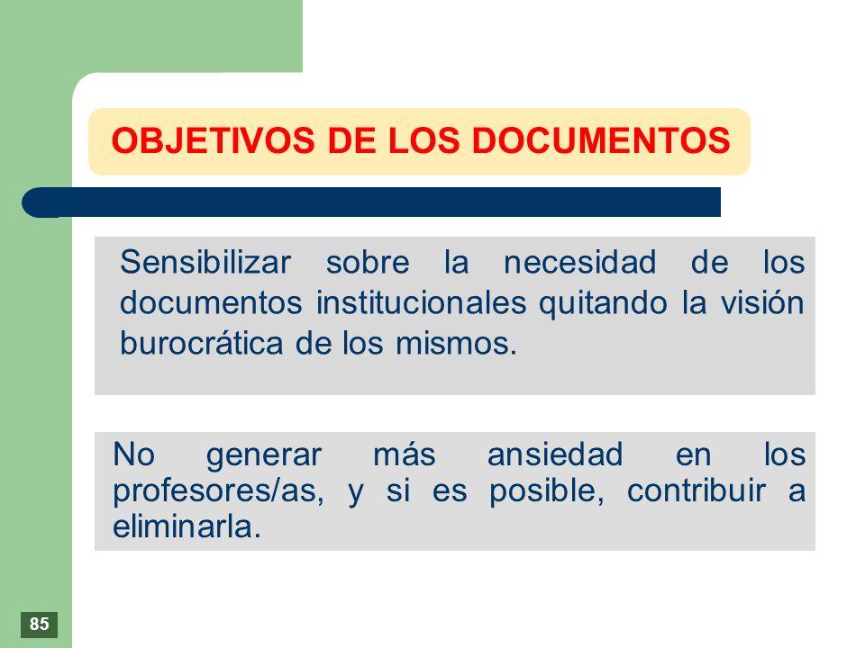 OBJETIVOS DE LOS DOCUMENTOS Sensibilizar sobre la necesidad de los documentos institucionales quitando la visión burocrática de los mismos. No generar