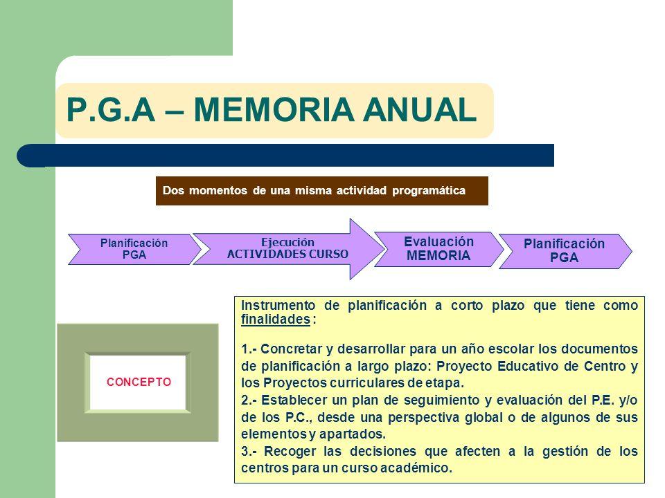 P.G.A – MEMORIA ANUAL Dos momentos de una misma actividad programática CONCEPTO Instrumento de planificación a corto plazo que tiene como finalidades