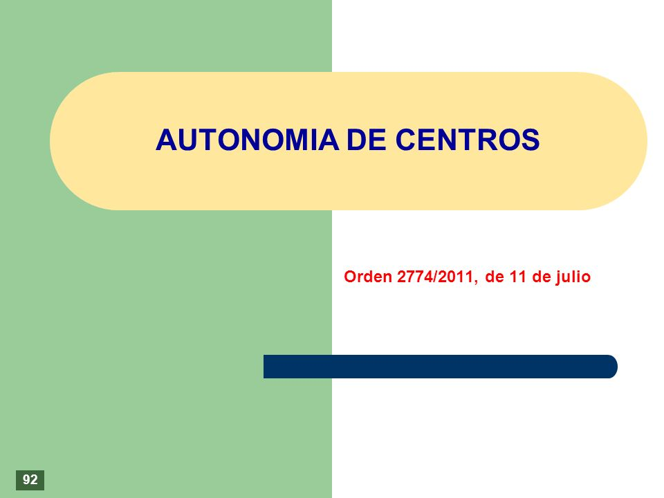 AUTONOMIA DE CENTROS Orden 2774/2011, de 11 de julio 92