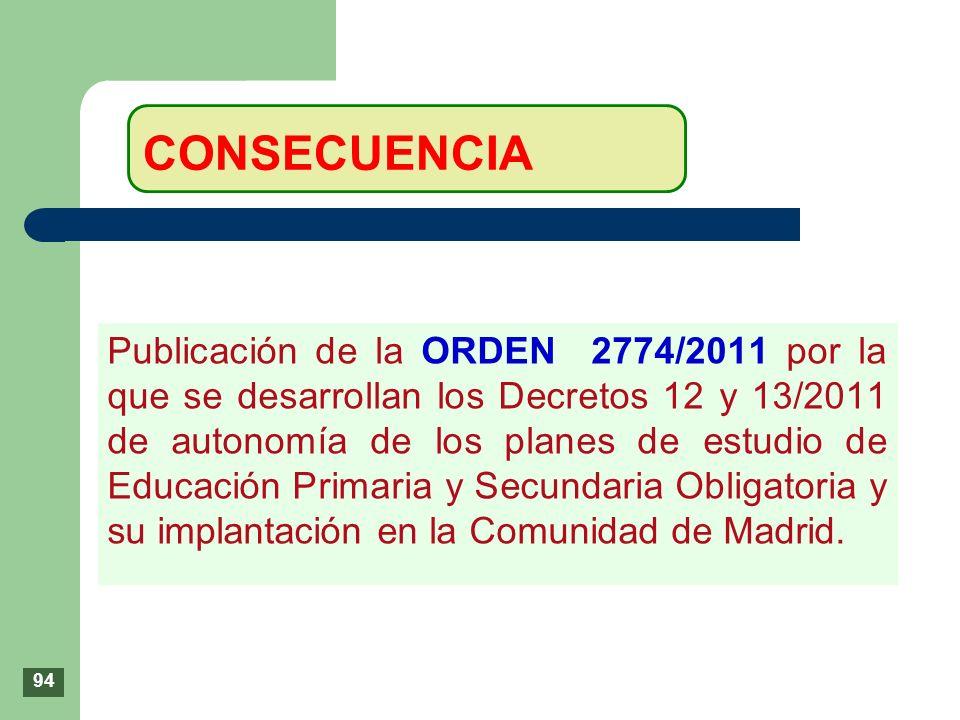 Publicación de la ORDEN 2774/2011 por la que se desarrollan los Decretos 12 y 13/2011 de autonomía de los planes de estudio de Educación Primaria y Se