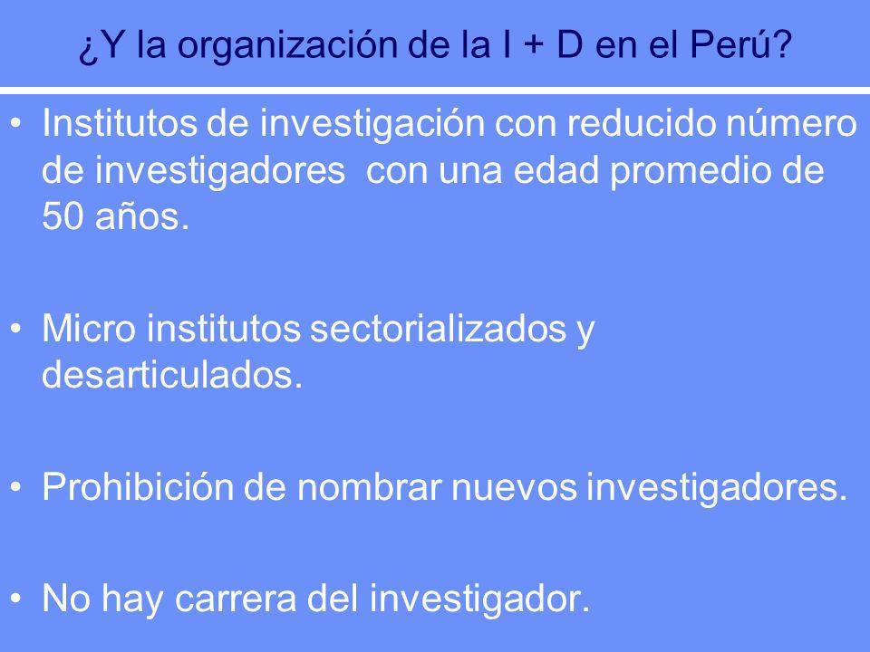 ¿Y la organización de la I + D en el Perú? Institutos de investigación con reducido número de investigadores con una edad promedio de 50 años. Micro i
