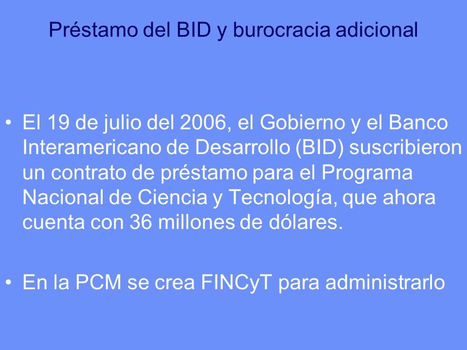 Préstamo del BID y burocracia adicional El 19 de julio del 2006, el Gobierno y el Banco Interamericano de Desarrollo (BID) suscribieron un contrato de préstamo para el Programa Nacional de Ciencia y Tecnología, que ahora cuenta con 36 millones de dólares.