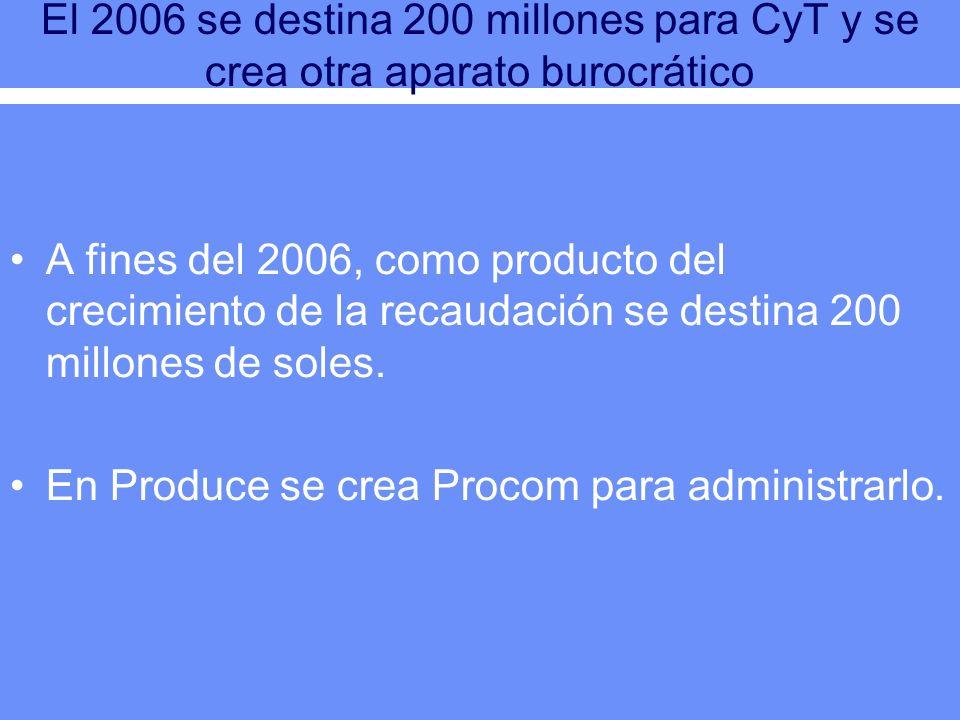 El 2006 se destina 200 millones para CyT y se crea otra aparato burocrático A fines del 2006, como producto del crecimiento de la recaudación se desti