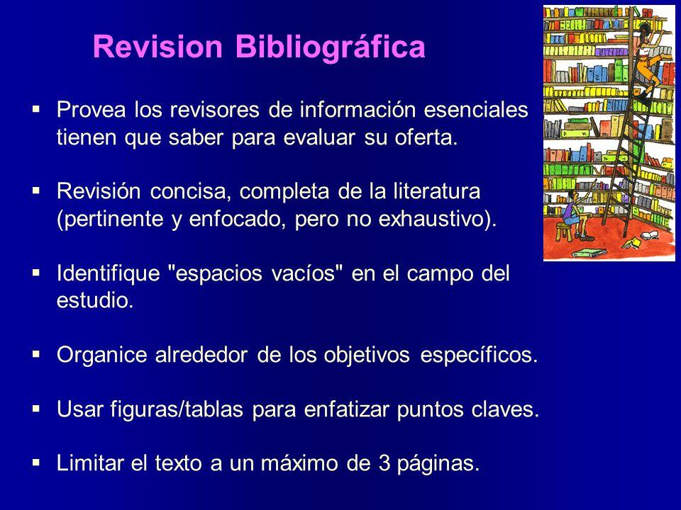 Revision Bibliográfica Provea los revisores de información esenciales tienen que saber para evaluar su oferta. Revisión concisa, completa de la litera