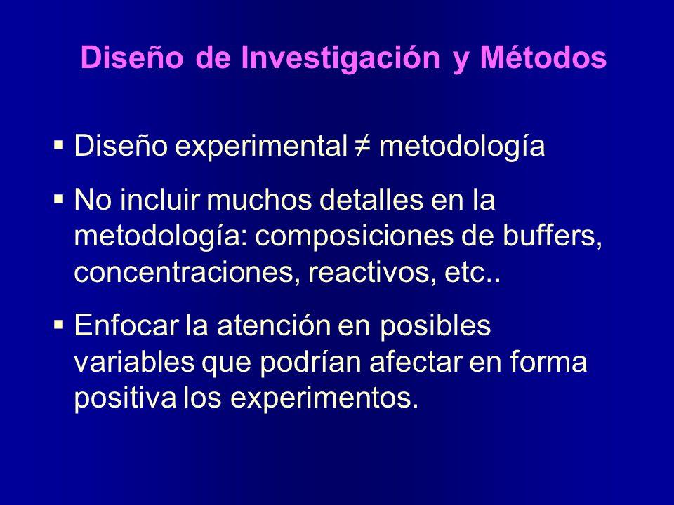 Diseño de Investigación y Métodos Diseño experimental metodología No incluir muchos detalles en la metodología: composiciones de buffers, concentracio