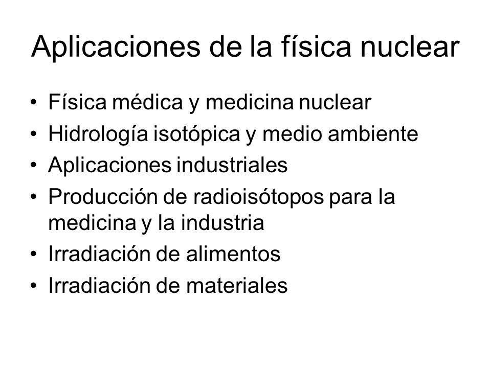 Aplicaciones de la física nuclear Física médica y medicina nuclear Hidrología isotópica y medio ambiente Aplicaciones industriales Producción de radioisótopos para la medicina y la industria Irradiación de alimentos Irradiación de materiales