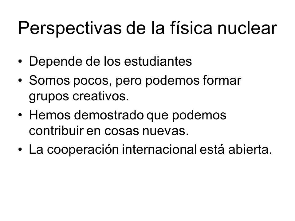 Perspectivas de la física nuclear Depende de los estudiantes Somos pocos, pero podemos formar grupos creativos.