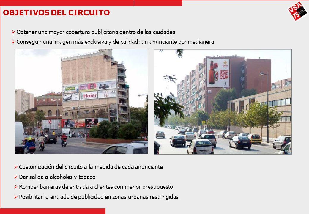 OBJETIVOS DEL CIRCUITO Obtener una mayor cobertura publicitaria dentro de las ciudades Conseguir una imagen más exclusiva y de calidad: un anunciante