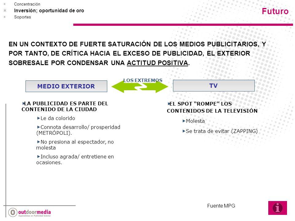EN UN CONTEXTO DE FUERTE SATURACIÓN DE LOS MEDIOS PUBLICITARIOS, Y POR TANTO, DE CRÍTICA HACIA EL EXCESO DE PUBLICIDAD, EL EXTERIOR SOBRESALE POR CONDENSAR UNA ACTITUD POSITIVA.