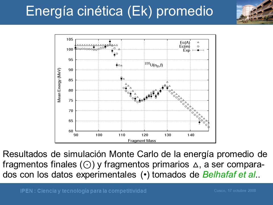 IPEN : Ciencia y tecnología para la competitividad Cusco, 17 octubre 2008 Energía cinética (Ek) promedio Resultados de simulación Monte Carlo de la en