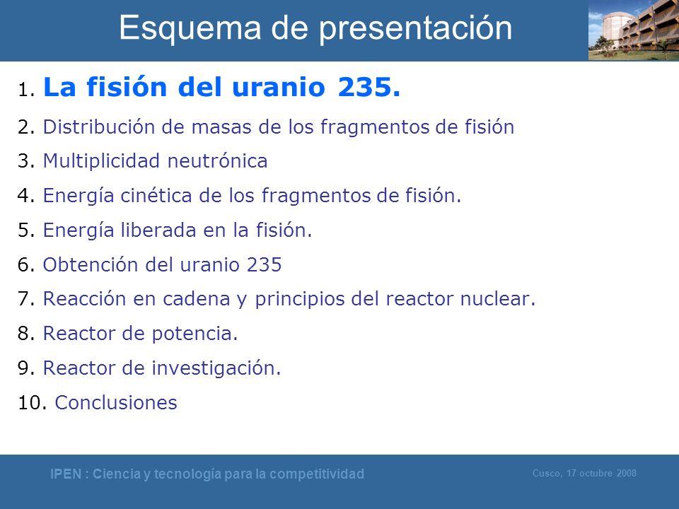IPEN : Ciencia y tecnología para la competitividad Cusco, 17 octubre 2008 Esquema de presentación 1. La fisión del uranio 235. 2. Distribución de masa