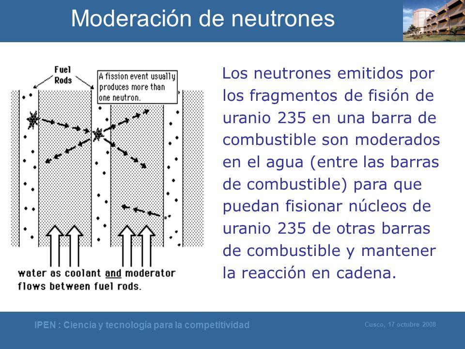 IPEN : Ciencia y tecnología para la competitividad Cusco, 17 octubre 2008 Los neutrones emitidos por los fragmentos de fisión de uranio 235 en una bar