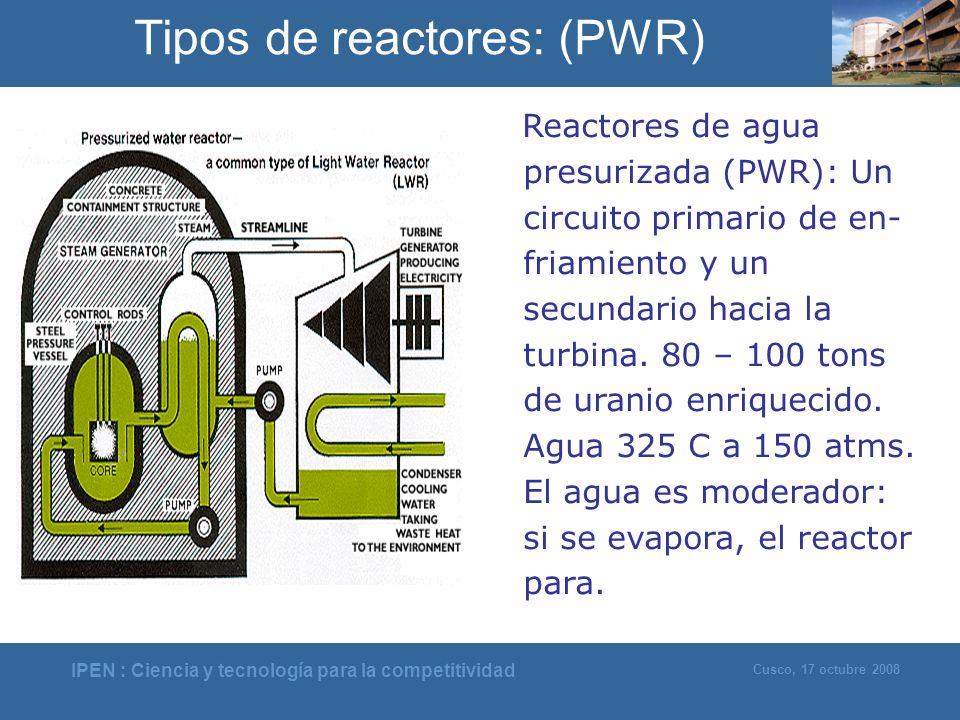 IPEN : Ciencia y tecnología para la competitividad Cusco, 17 octubre 2008 Reactores de agua presurizada (PWR): Un circuito primario de en- friamiento