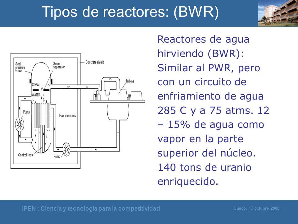 IPEN : Ciencia y tecnología para la competitividad Cusco, 17 octubre 2008 Reactores de agua hirviendo (BWR): Similar al PWR, pero con un circuito de e
