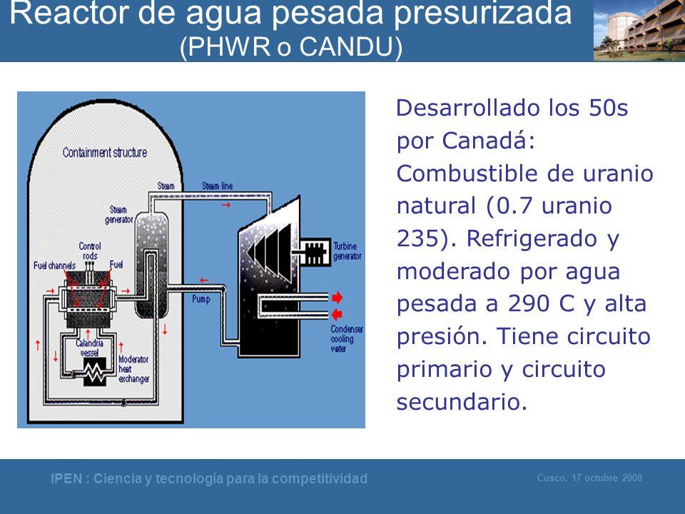 IPEN : Ciencia y tecnología para la competitividad Cusco, 17 octubre 2008 Desarrollado los 50s por Canadá: Combustible de uranio natural (0.7 uranio 2