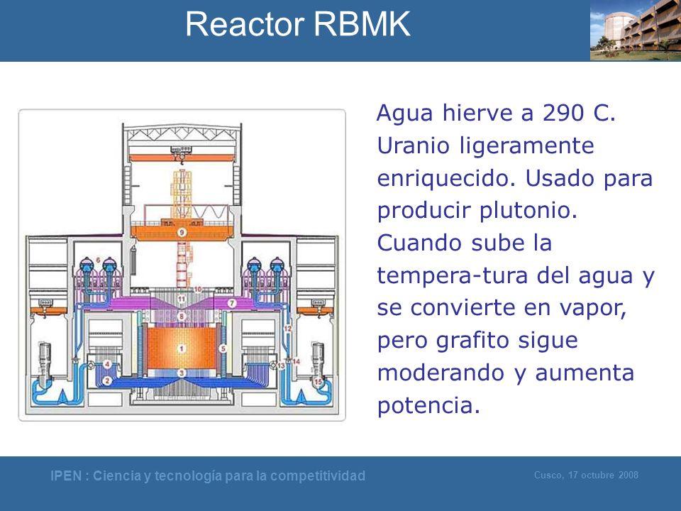 IPEN : Ciencia y tecnología para la competitividad Cusco, 17 octubre 2008 Agua hierve a 290 C. Uranio ligeramente enriquecido. Usado para producir plu