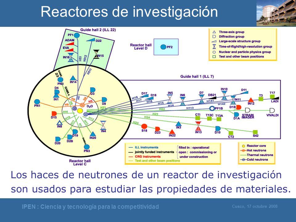 IPEN : Ciencia y tecnología para la competitividad Cusco, 17 octubre 2008 Los haces de neutrones de un reactor de investigación son usados para estudi