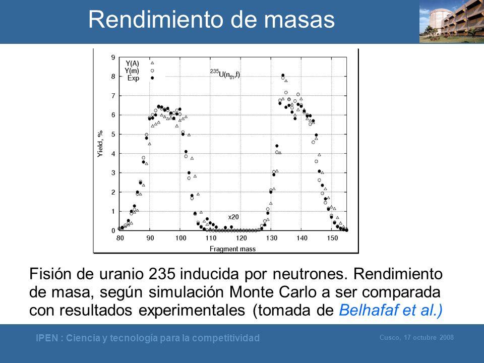 IPEN : Ciencia y tecnología para la competitividad Cusco, 17 octubre 2008 Rendimiento de masas Fisión de uranio 235 inducida por neutrones. Rendimient