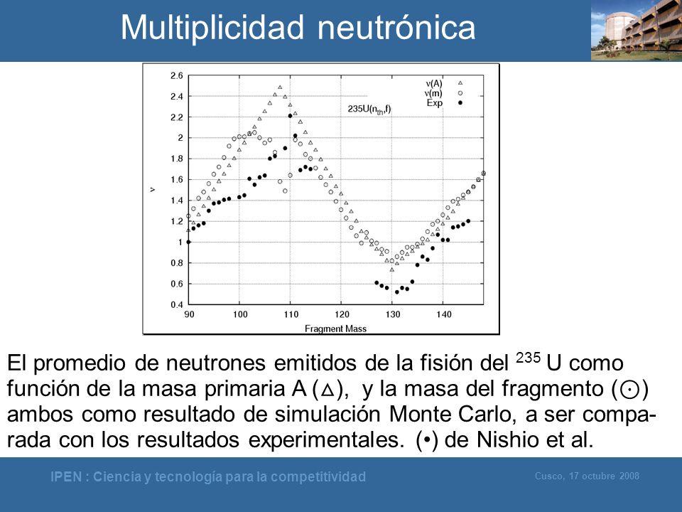 IPEN : Ciencia y tecnología para la competitividad Cusco, 17 octubre 2008 Multiplicidad neutrónica El promedio de neutrones emitidos de la fisión del