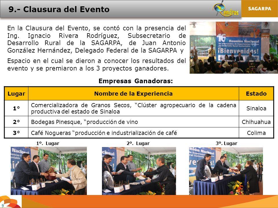 9 En la Clausura del Evento, se contó con la presencia del Ing. Ignacio Rivera Rodríguez, Subsecretario de Desarrollo Rural de la SAGARPA, de Juan Ant