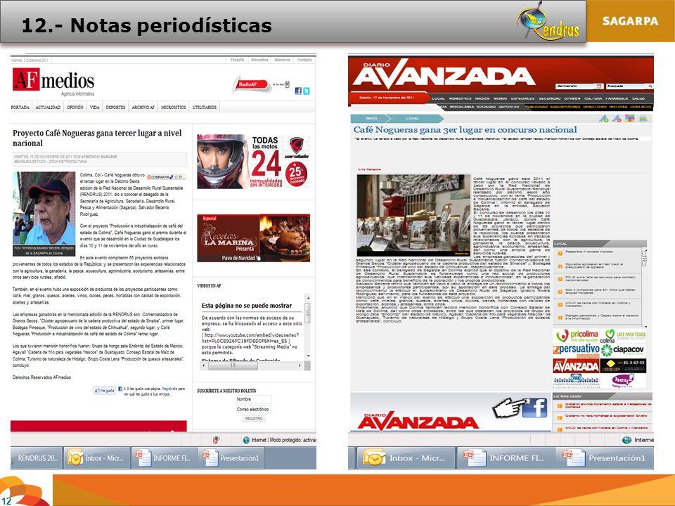 12 12.- Notas periodísticas