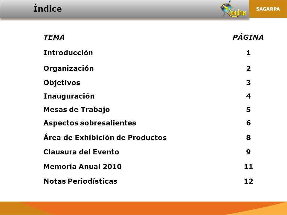 TEMAPÁGINA Introducción1 Organización2 Objetivos3 Inauguración4 Mesas de Trabajo5 Aspectos sobresalientes6 Área de Exhibición de Productos8 Clausura del Evento9 Memoria Anual 201011 Notas Periodísticas12 Índice