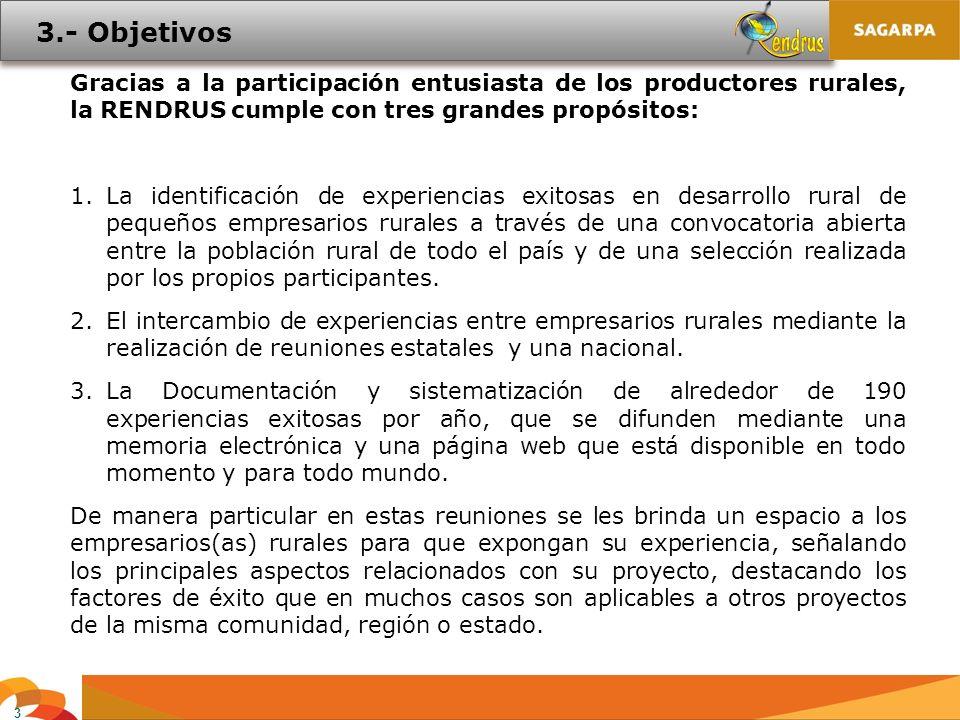 3 Gracias a la participación entusiasta de los productores rurales, la RENDRUS cumple con tres grandes propósitos: 1.La identificación de experiencias