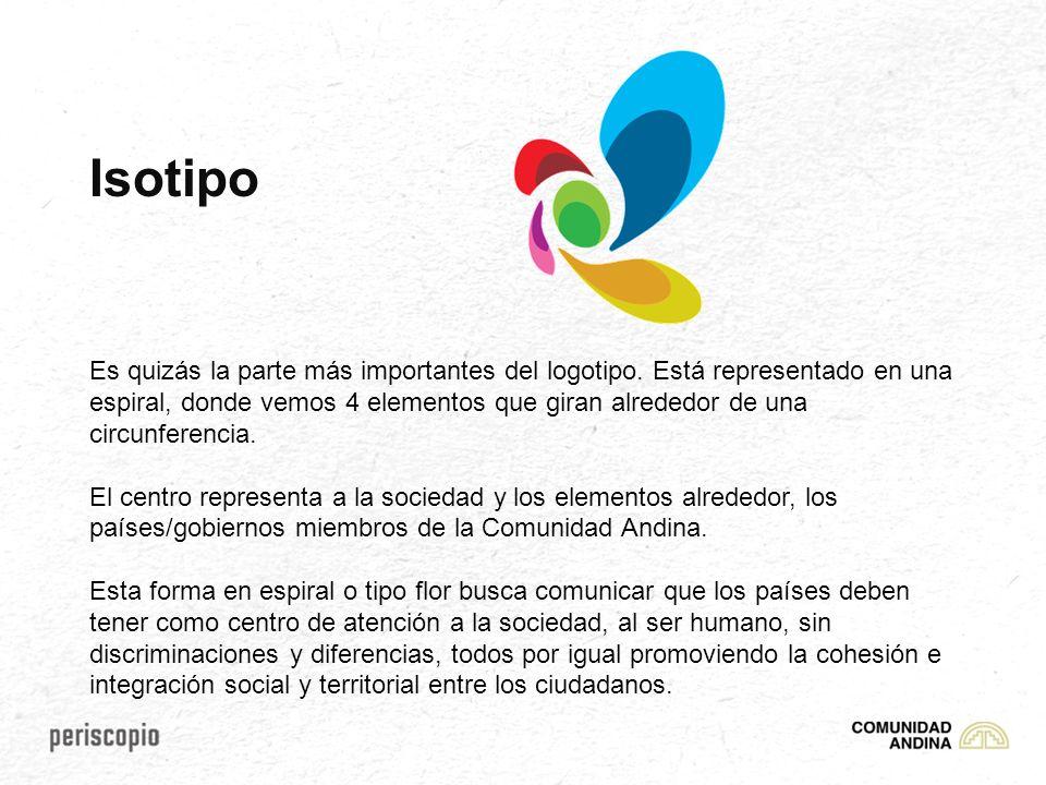 Isotipo Es quizás la parte más importantes del logotipo. Está representado en una espiral, donde vemos 4 elementos que giran alrededor de una circunfe