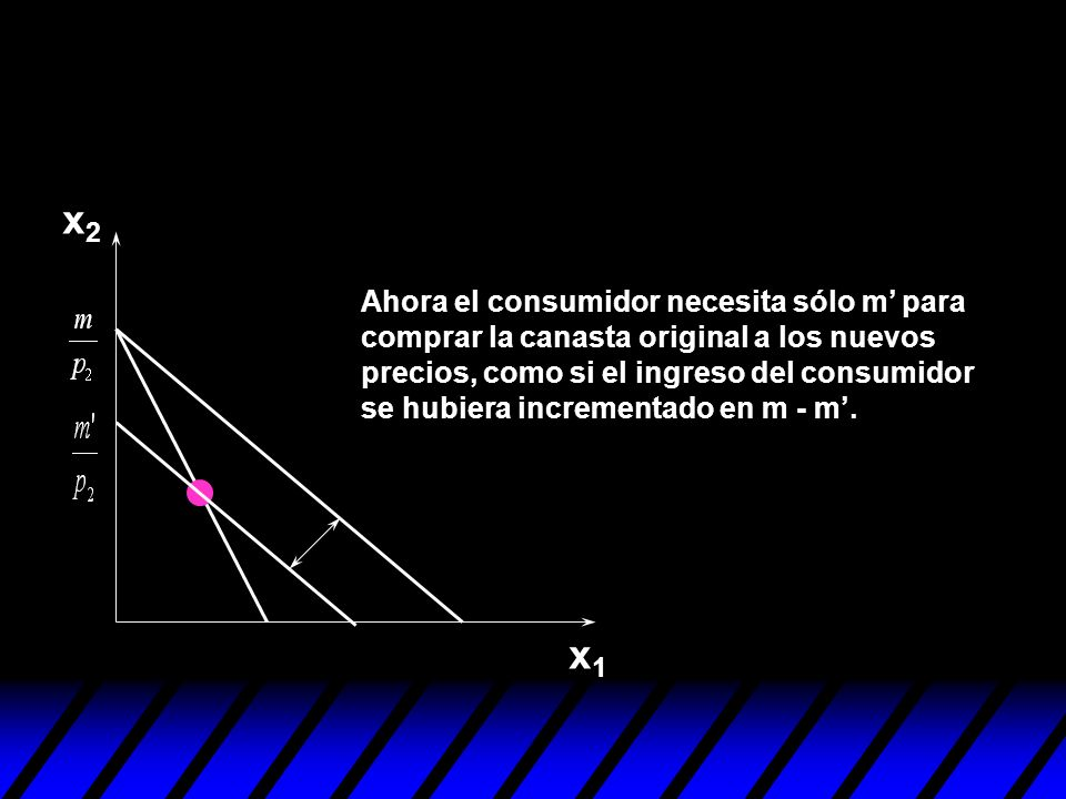 x2x2 x1x1 x 2 x 1 (x 1,x 2 ) El efecto ingreso actúa en dirección opuesta.