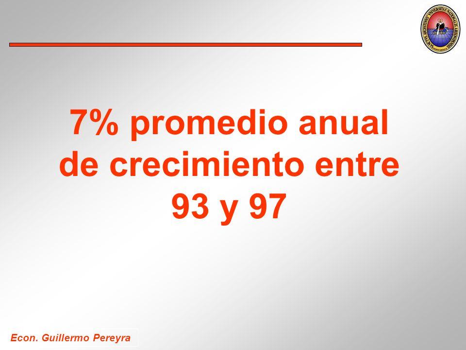Econ. Guillermo Pereyra 7% promedio anual de crecimiento entre 93 y 97