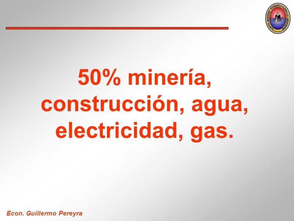 Econ. Guillermo Pereyra 50% minería, construcción, agua, electricidad, gas.