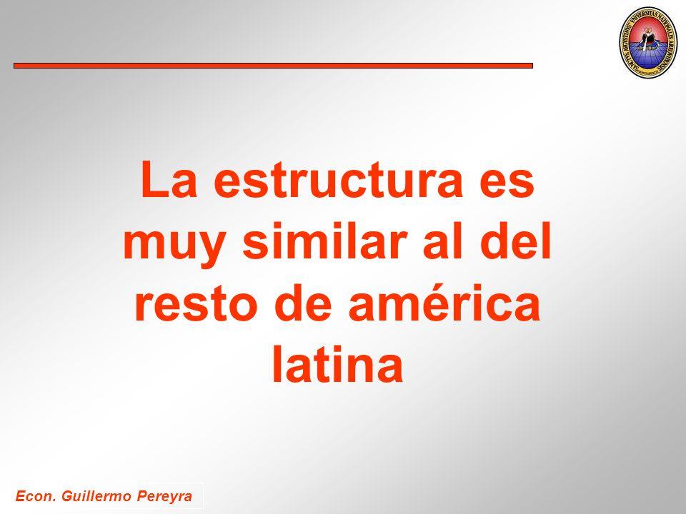 La estructura es muy similar al del resto de américa latina