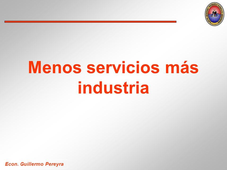 Econ. Guillermo Pereyra Menos servicios más industria