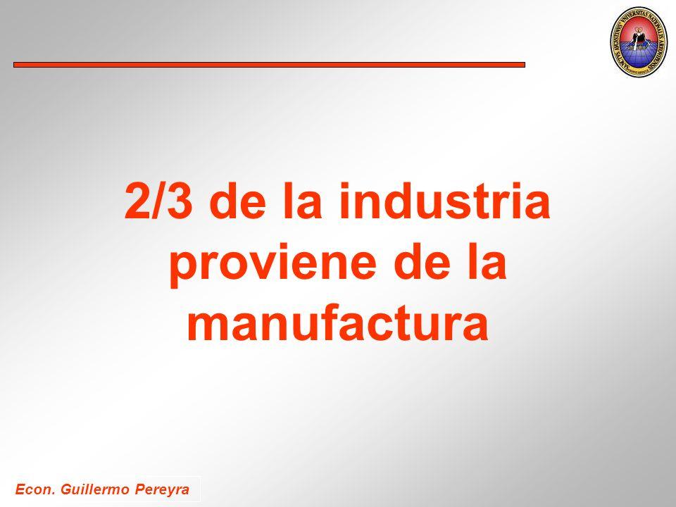 Econ. Guillermo Pereyra 2/3 de la industria proviene de la manufactura