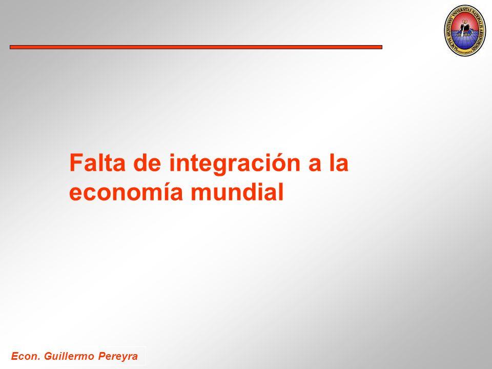 Econ. Guillermo Pereyra Falta de integración a la economía mundial