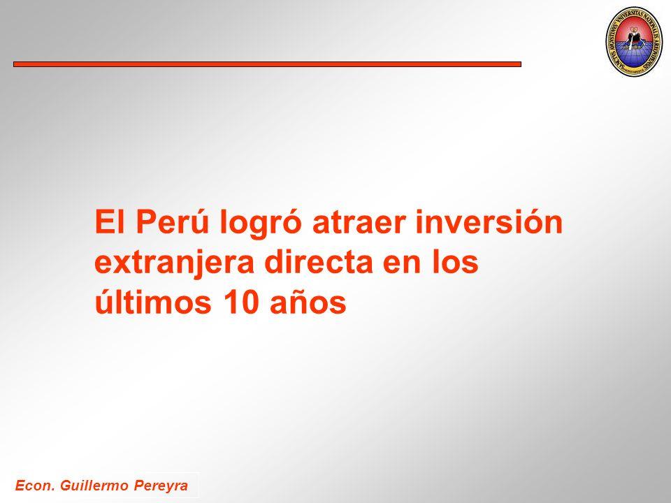 El Perú logró atraer inversión extranjera directa en los últimos 10 años