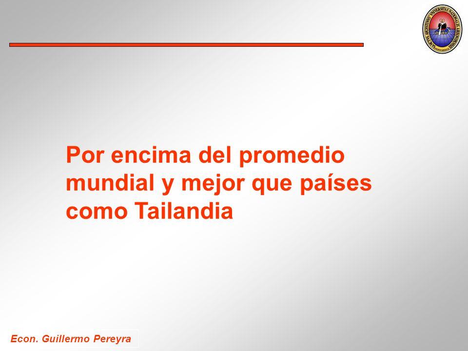 Econ. Guillermo Pereyra Por encima del promedio mundial y mejor que países como Tailandia
