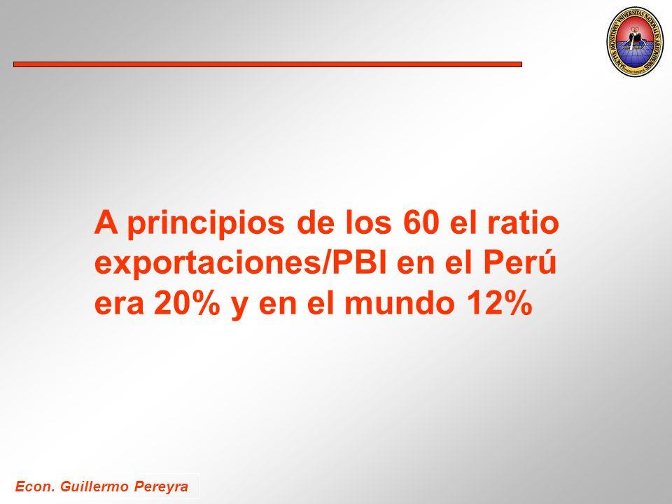 A principios de los 60 el ratio exportaciones/PBI en el Perú era 20% y en el mundo 12%