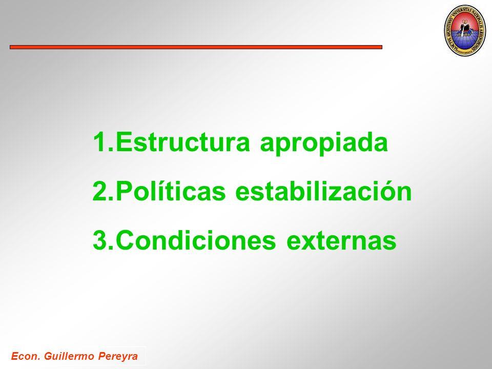 1.Estructura apropiada 2.Políticas estabilización 3.Condiciones externas