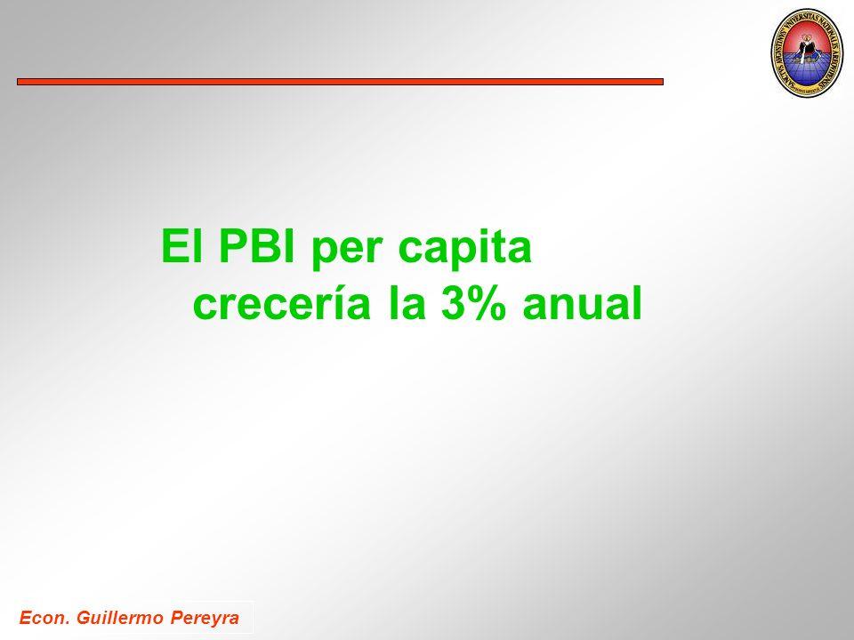 Econ. Guillermo Pereyra El PBI per capita crecería la 3% anual