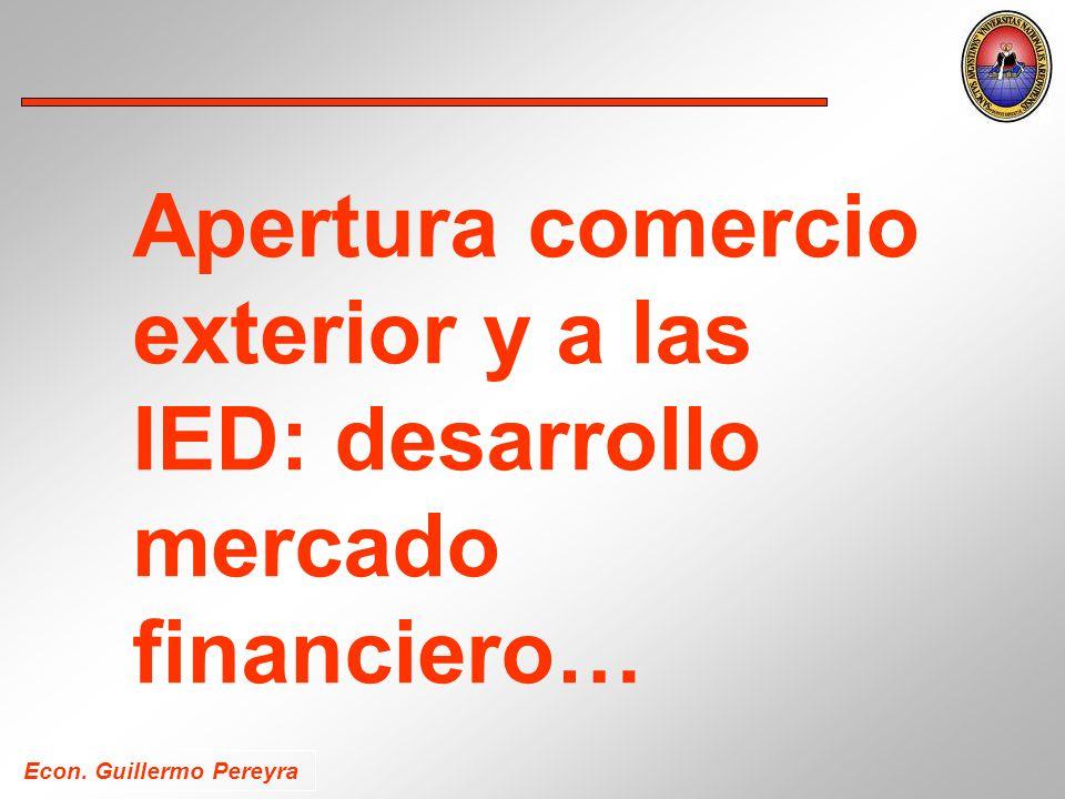 Apertura comercio exterior y a las IED: desarrollo mercado financiero…