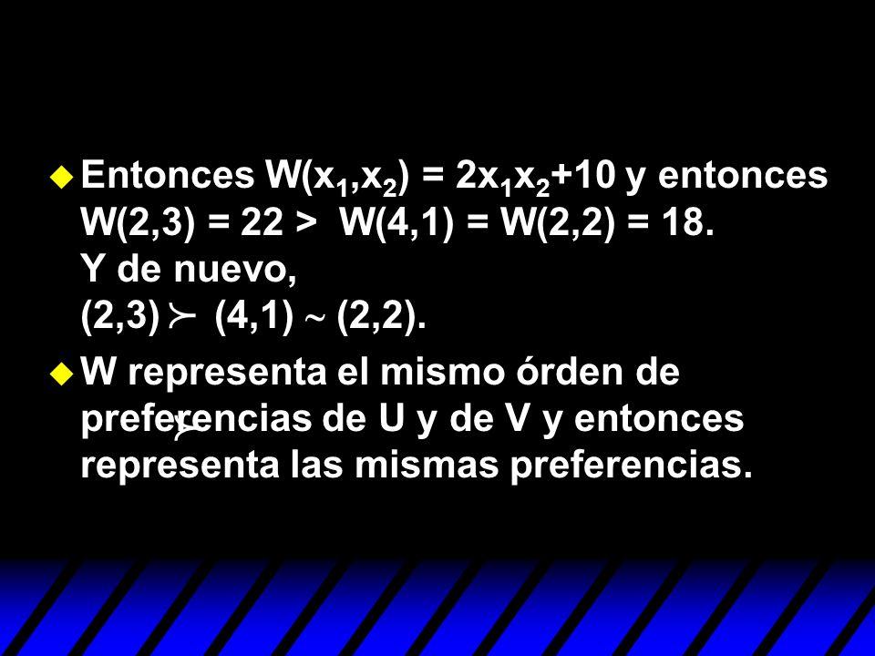 Entonces W(x 1,x 2 ) = 2x 1 x 2 +10 y entonces W(2,3) = 22 > W(4,1) = W(2,2) = 18. Y de nuevo, (2,3) (4,1) (2,2). u W representa el mismo órden de pre