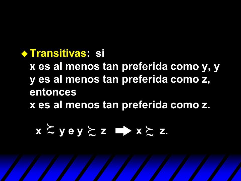 u Transitivas: si x es al menos tan preferida como y, y y es al menos tan preferida como z, entonces x es al menos tan preferida como z. x y e y z x z