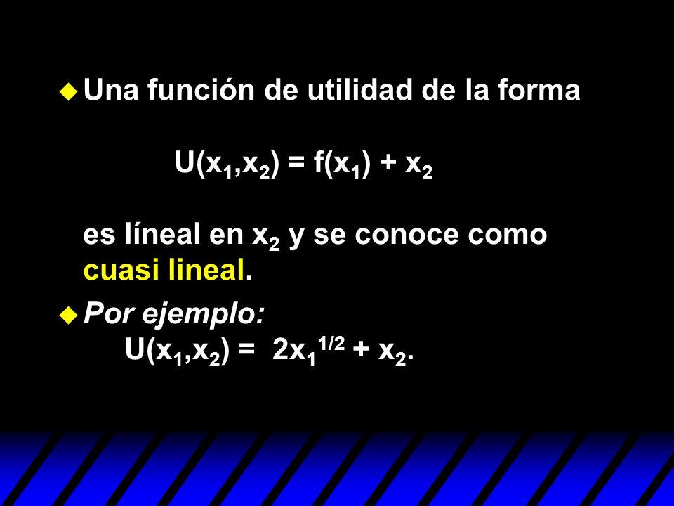 u Una función de utilidad de la forma U(x 1,x 2 ) = f(x 1 ) + x 2 es líneal en x 2 y se conoce como cuasi lineal. u Por ejemplo: U(x 1,x 2 ) = 2x 1 1/