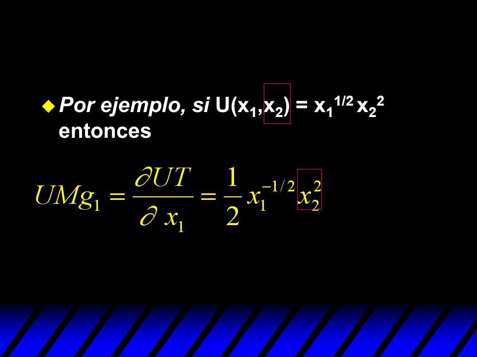 u Por ejemplo, si U(x 1,x 2 ) = x 1 1/2 x 2 2 entonces