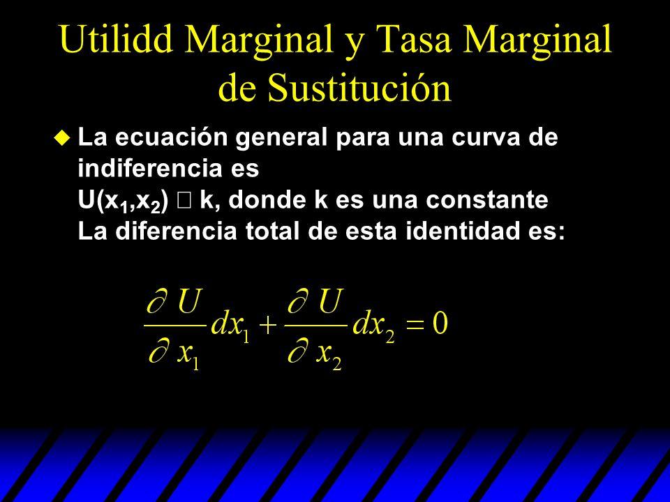 Utilidd Marginal y Tasa Marginal de Sustitución La ecuación general para una curva de indiferencia es U(x 1,x 2 ) k, donde k es una constante La difer