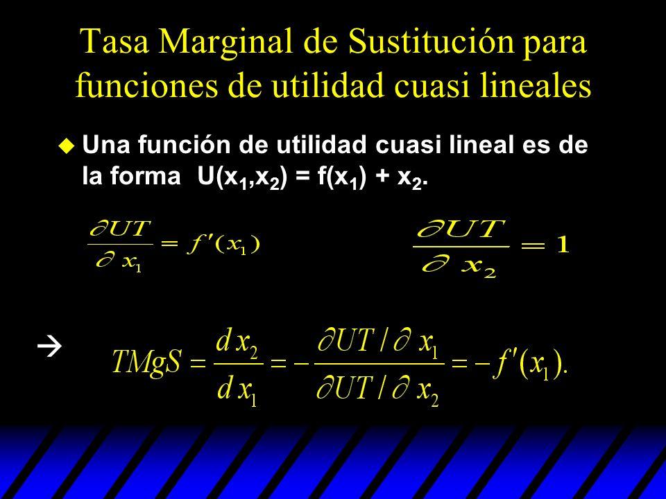 Tasa Marginal de Sustitución para funciones de utilidad cuasi lineales u Una función de utilidad cuasi lineal es de la forma U(x 1,x 2 ) = f(x 1 ) + x
