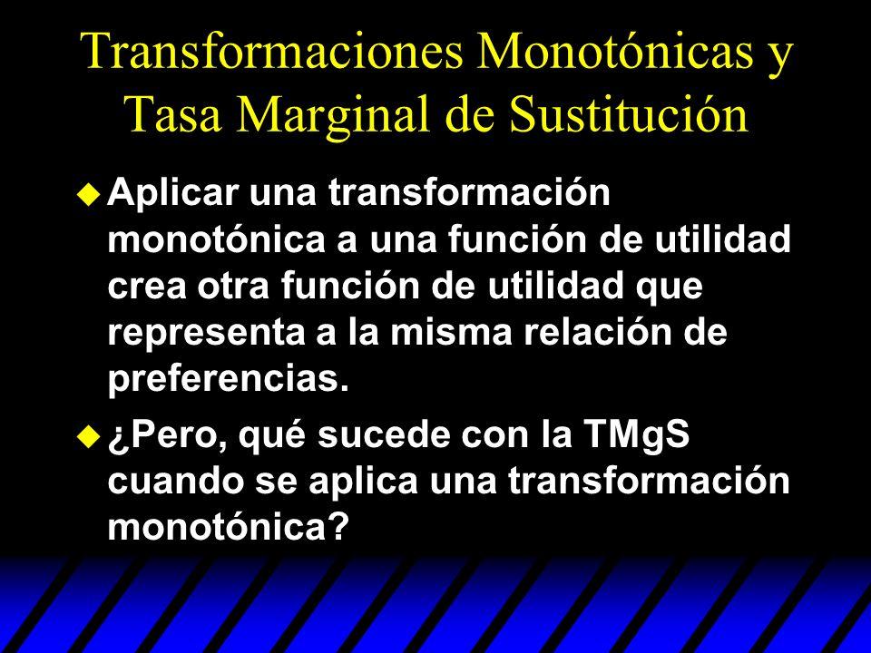 Transformaciones Monotónicas y Tasa Marginal de Sustitución u Aplicar una transformación monotónica a una función de utilidad crea otra función de uti