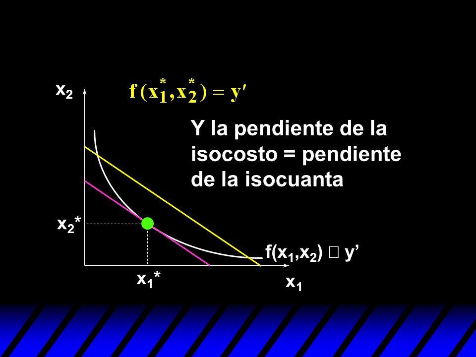 x1x1 x2x2 f(x 1,x 2 ) y x1*x1* x2*x2* Y la pendiente de la isocosto = pendiente de la isocuanta