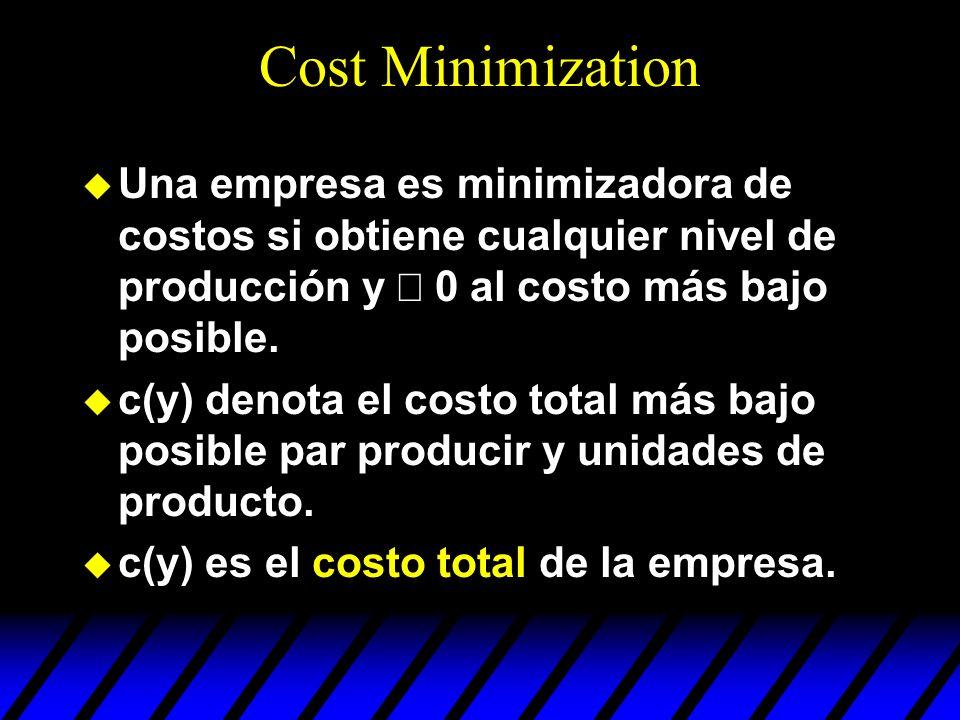 Cost Minimization Una empresa es minimizadora de costos si obtiene cualquier nivel de producción y 0 al costo más bajo posible. u c(y) denota el costo